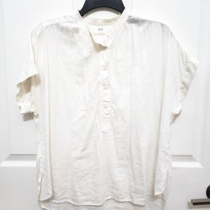 Uniqlo Short Sleeve Linen Blouse w/Mandarin Collar